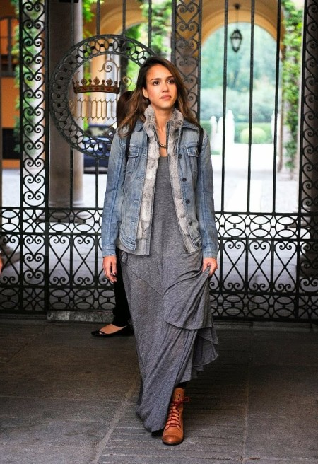 Jessica-Alba-Street-Style-StyleChi-Best-Outfits-Milan-Denim-Jacket-Grey-Jersey-Maxi-Dress-Brown-Boots