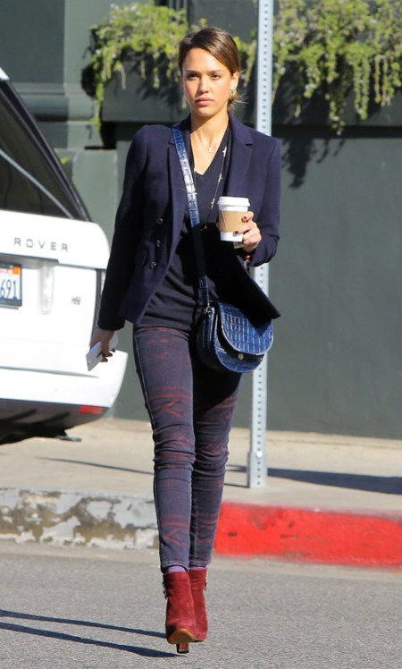 Jessica-Alba-Street-Style-StyleChi-Best-Outfits-Navy-Blazer-V-Top-Burgundy-Aztec-Print-Skinny-Jeans-Suede-Ankle-Boots-Blue-Croc-Bag