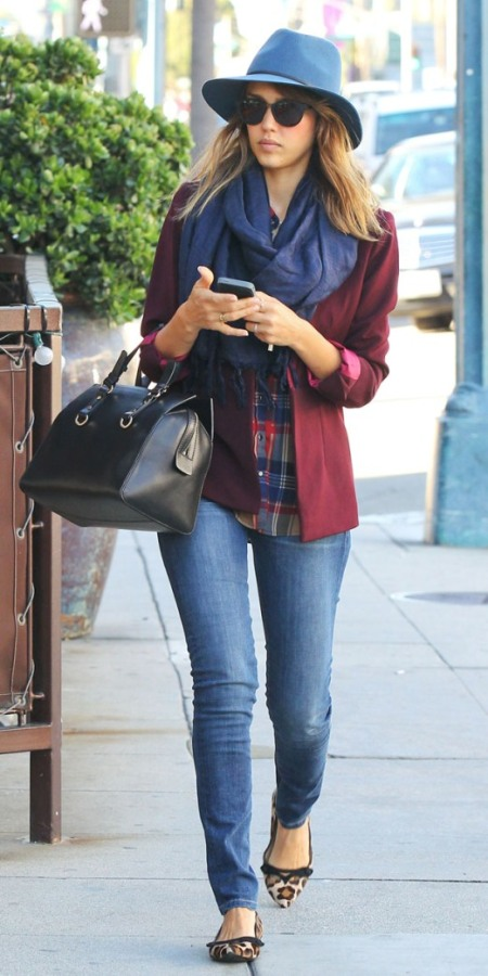 Jessica-Alba-Street-Style-StyleChi-Best-Outfits-Navy-Hat-Burgundy-Blazer-Checkered-Shirt=Skinny-Jeans-Leopard-Ballerina-Flats-Blue-Scarf-Black-Bag-Sunglasses