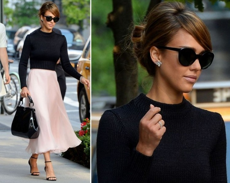 Jessica-Alba-Style-StyleChi-Best-Outfits-2014-Black-High-Neck-Cropped-Sweater-Pink-Midi-Skirt-Patent-Bag-Barely-There-Heels-Sunglasses