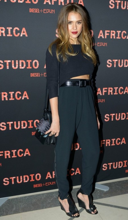 Jessica-Alba-Style-StyleChi-Best-Outfits-Black-Cropped-Sweater-High-Waist-Trousers-Nlack-Wedges
