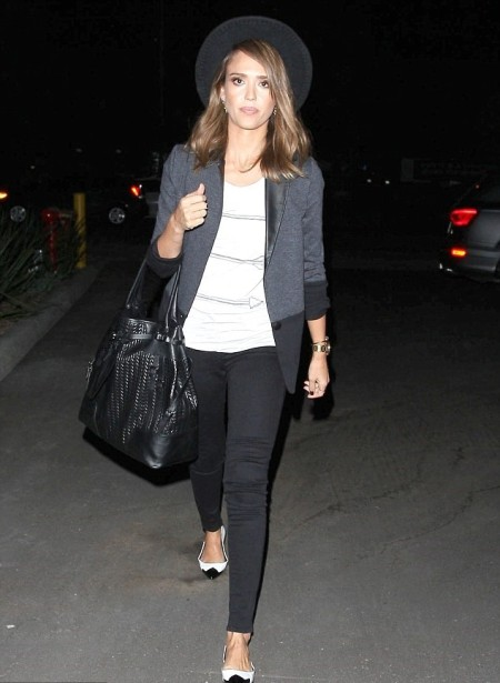Jessica-Alba-Style-StyleChi-Best-Outfits-Black-Hat-Blue-Blazer-White-Top-Skinny-Jeans-Oversized-Bag-Two-Tone-Ballerina-Flats