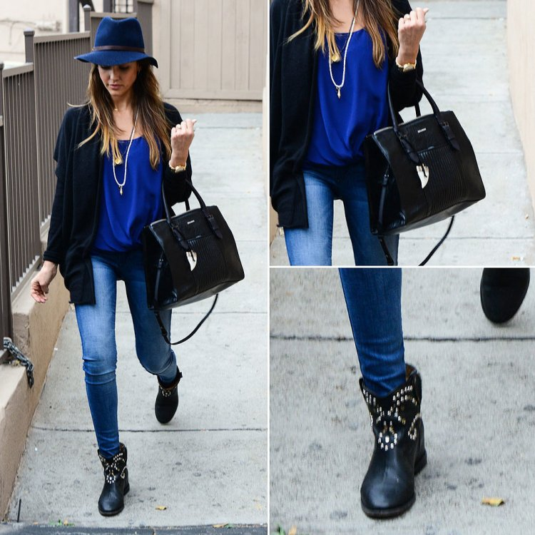 Jessica-Alba-Style-StyleChi-Best-Outfits-Navy-Hat-Black-Cardigan-Electric-Blue-Top-Skinny-Jeans-Black-Handbag-Studded-Cowboy-Boots