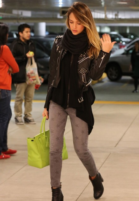 Jessica-Alba-Winter-Street-Style-StyleChi-Best-Outfits-2012-Studded-Leather-Jacket-Grey-Star-Print-Jeans-Ankle-Boots-Lime-Handbag