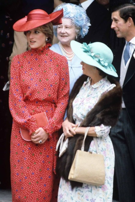 Princess-Diana-StyleChi-Style-Best-Looks-1981-Red-Dotted-Blue-Green-White-High-Neck-Long-Sleeve-Dress-red-Hat-Clutch