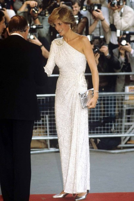 Princess-Diana-StyleChi-Style-Best-Looks-1983-White-Asymmetrical-Long-Sleeve-Sparkly-Glitter-Dress-Silver-Clutch-Heels