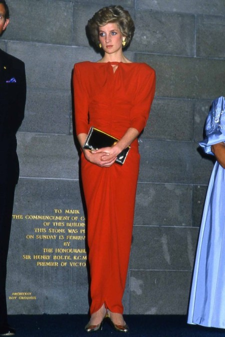 Princess-Diana-StyleChi-Style-Best-Looks-1985-Red-Long-Sleeve-Padded-Shoulder-Red-Dress-Draped-Effect