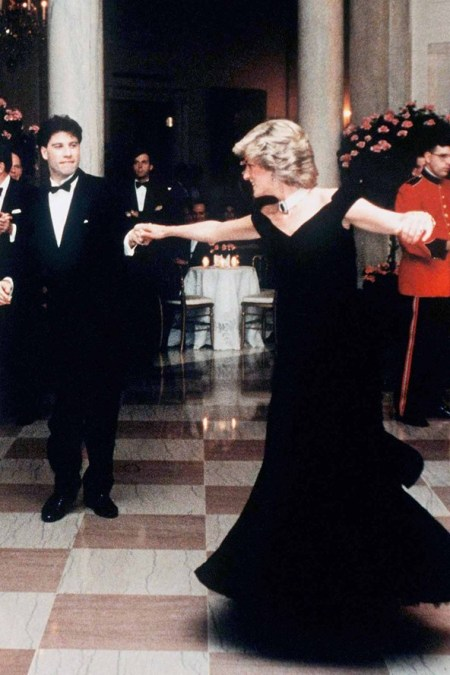 Princess-Diana-StyleChi-Style-Best-Looks-1985-Travolta-Off-The-Shoulder-Black-Gown-Pearl-Choker