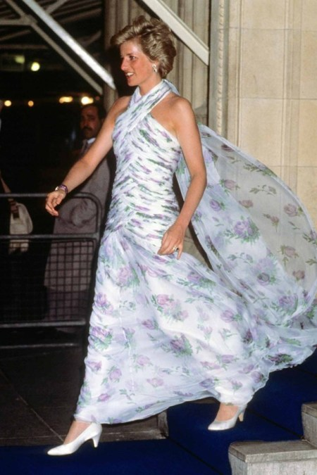 Princess-Diana-StyleChi-Style-Best-Looks-1990-Royal-Albert-Hall-White-Floral-Cross-Front-Gown-White-Heels
