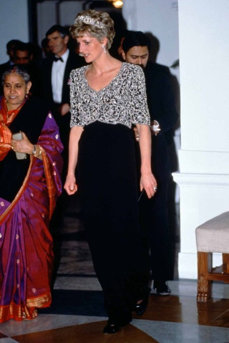 Princess-Diana-StyleChi-Style-Best-Looks-1992-India-Black-Dress-Beaded-Cropped-Jacket-Tiara