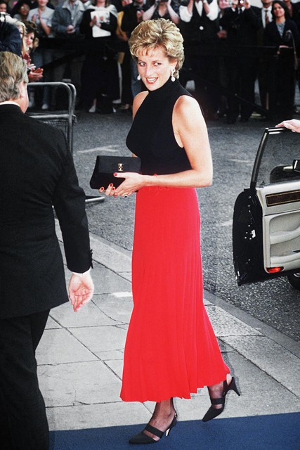 Princess-Diana-StyleChi-Style-Best-Looks-Black-Sleeveless-High-Neck-Top-High-Waist-Red-Skirt