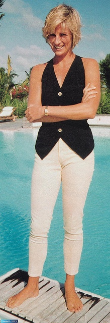 Princess-Diana-StyleChi-Style-Best-Looks-Black-Waistcoat-White-Cropped-Trousers-Off-Duty