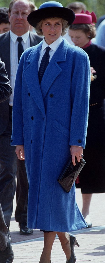 Princess-Diana-StyleChi-Style-Best-Looks-Blue-Oversized-Masculine-Pea-Coat-Hat