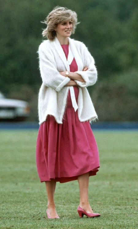 Princess-Diana-StyleChi-Style-Best-Looks-Casual-Off-Duty-Dark-Pink-Dress-Matching-Heels-White-Fluffy-Cardigan