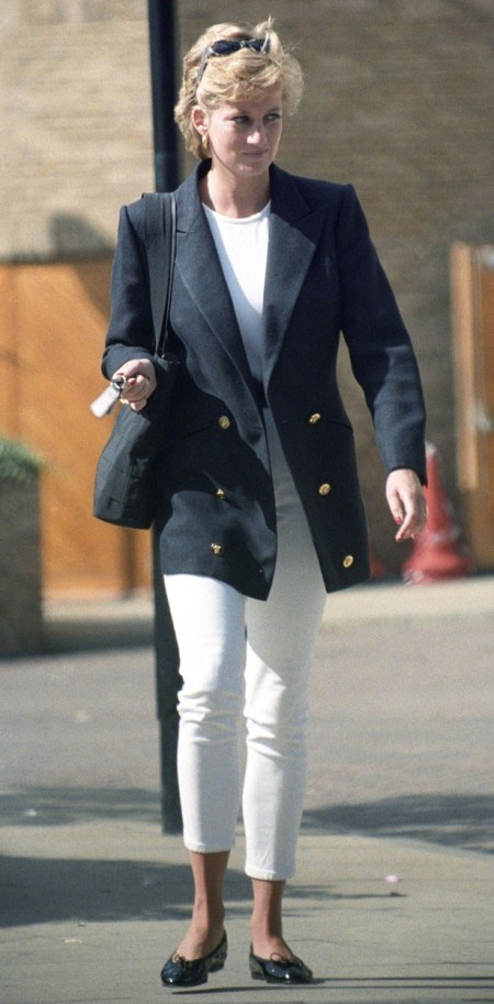 Princess-Diana-StyleChi-Style-Best-Looks-Navy-Oversized-Blzer-Gold-Buttons-White-Cropped-Jeans-T-Shirt-Black-Patent-Ballerinas