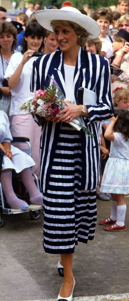 Princess-Diana-StyleChi-Style-Best-Looks-Navy-White-Striped-Matching-Oversized-Jacket-Midi-Skirt-White-Top-Hat