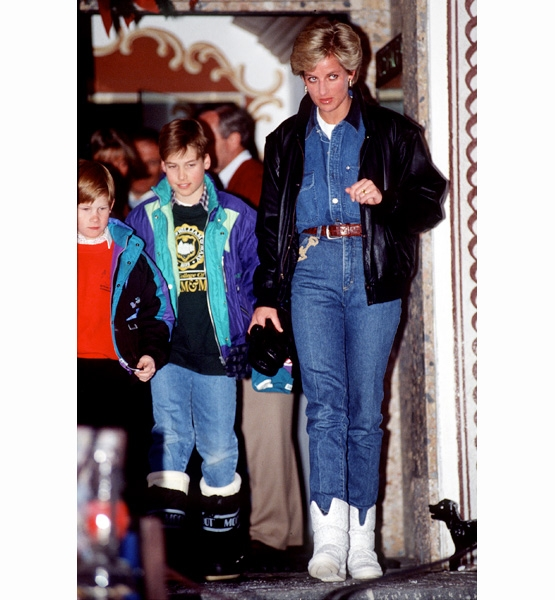 Princess-Diana-StyleChi-Style-Best-Looks-Off-Duty-Full-Denim-Outfit-White-Boots-Leather-Jacket