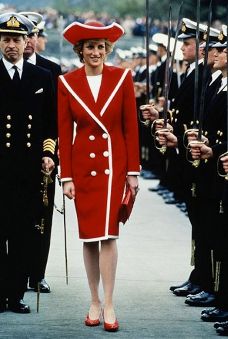 Princess-Diana-StyleChi-Style-Best-Looks-Red-Midi-Pea-Coat-White-Contrast-Trim-Buttons-Matching-Hat