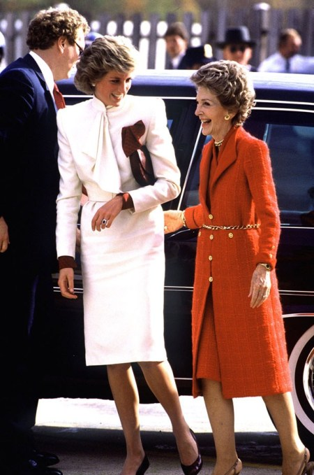 Princess-Diana-StyleChi-Style-Best-Looks-White-Belted-Suit-Dress-Bow-High-Neck-Burgundy-Clutch