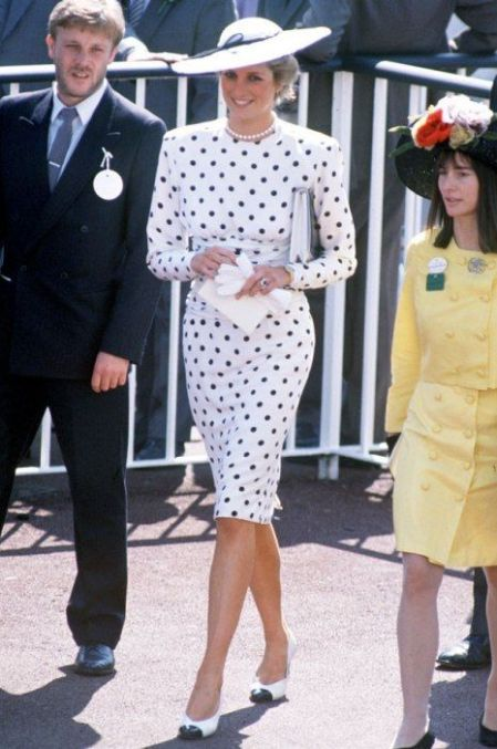 Princess-Diana-StyleChi-Style-Best-Looks-White-Black-Polka-Dot-Midi-Long-Sleeve-Dress-White-Hat