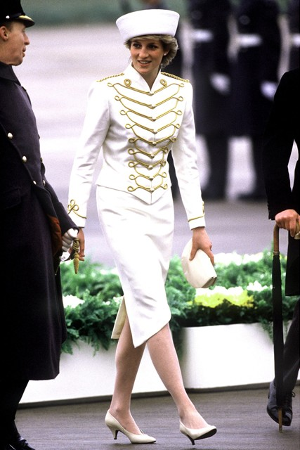 Princess-Diana-StyleChi-Style-Best-Looks-White-Military-Style-Skirt-Ensemble-Hat