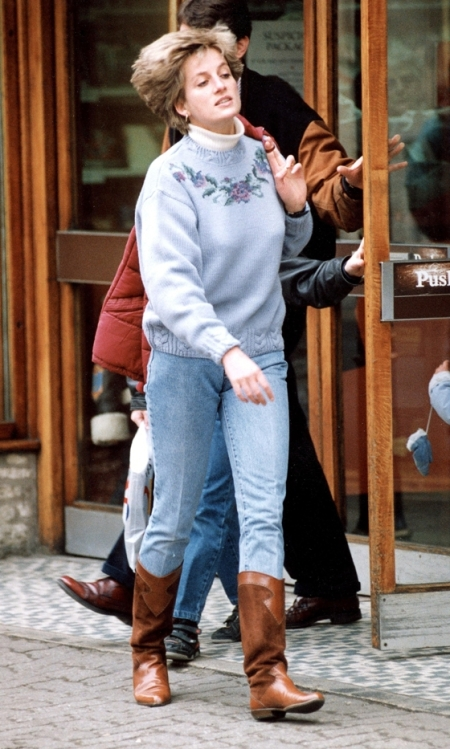 Princess-Diana-StyleChi-Style-Best-Looks-White-Polo-Neck-Blue-Knitted-Sweater-Jeans-Brown-Boots-Off-Duty-Red-Puffer-Jacket