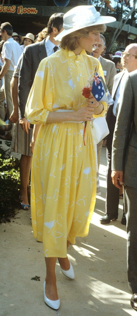 Princess-Diana-StyleChi-Style-Best-Looks-Yellow-White-Midi-Shirt-Dress-Long-Sleeve-White-Hat-Heels