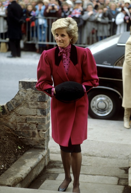 Princess-Diana-StyleChi-Style-Best-Outfits-Dark-Pink-Coat-High-Neck-Polka-Dot-Top