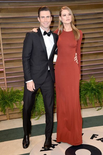 StyleChi-Behati-Prinsloo-Red-Carpet-Style-Best-Looks-Victoria's-Secret-Angel-Red-Brick-Long-Sleeve-Maxi-Dress-Adam-Levine