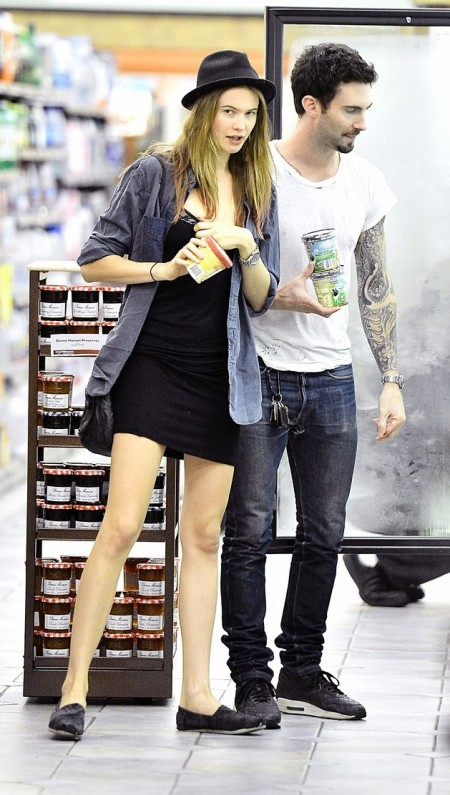 Adam Levine and girlfriend Behati Prinsloo Stop By The Grocery Store For Some Late Night Snacks.