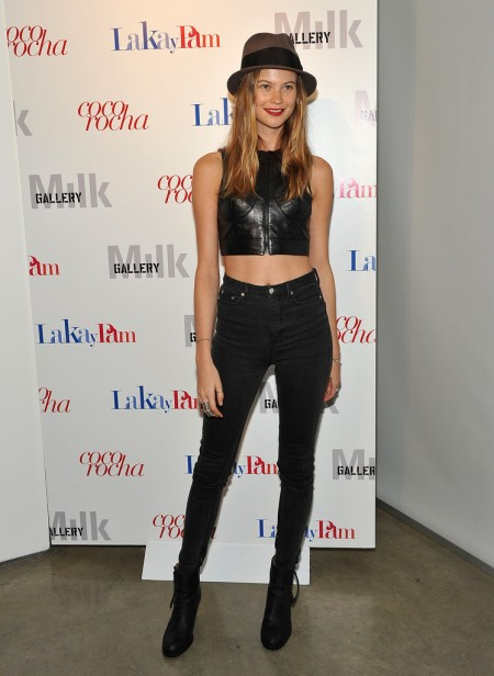 StyleChi-Behati-Prinsloo-Street-Style-Best-Looks-Victoria's-Secret-Angel-Black-Zip-Crop-Top-High-Waist-Jeans-Brown-Fedora-Boots