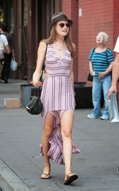 StyleChi-Behati-Prinsloo-Street-Style-Best-Looks-Victoria's-Secret-Angel-Brown-Hat-Split-Cut-Out-Pink-Black-Striped-V-Neck-Dress-Heart-Sunglasses