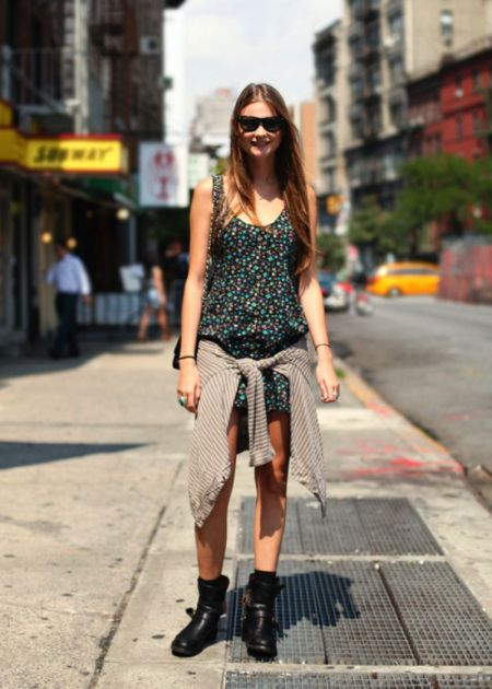 StyleChi-Behati-Prinsloo-Street-Style-Best-Looks-Victoria's-Secret-Angel-Floral-Mini-Dress-Sunglasses-Biker-Boots