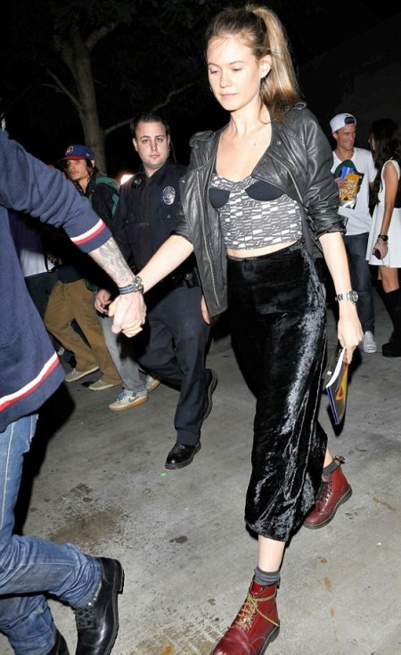 StyleChi-Behati-Prinsloo-Street-Style-Best-Looks-Victoria's-Secret-Angel-Leather-Jacket-Printed-Bralette-Crop-Top-Velvet-Burnout-Skirt-Red-Doc-Martens
