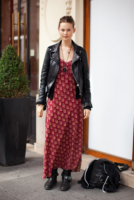 StyleChi-Behati-Prinsloo-Street-Style-Best-Looks-Victoria's-Secret-Angel-Leather-Jacket-Red-Printed-Maxi-Dress-Biker-Boots