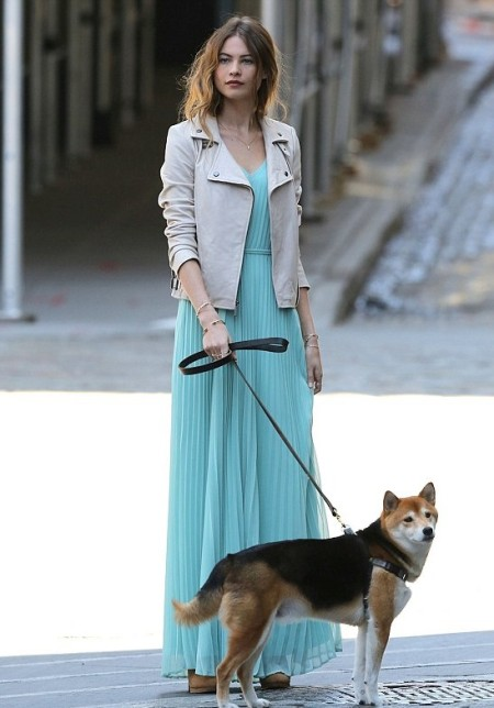 StyleChi-Behati-Prinsloo-Street-Style-Best-Looks-Victoria's-Secret-Angel-Nude-Leather-Jacket-Light-Blue-Pleated-Maxi-Dress-Walking-Dog
