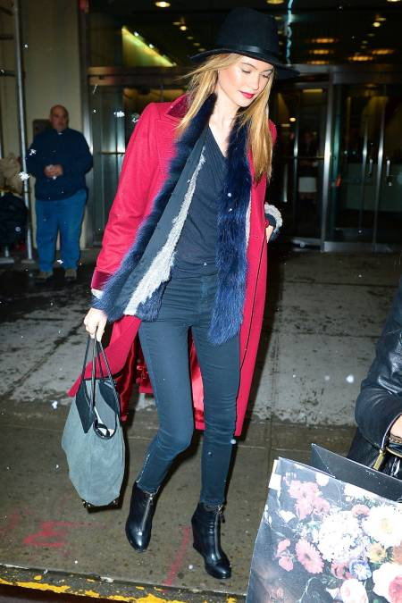 StyleChi-Behati-Prinsloo-Street-Style-Best-Looks-Victoria's-Secret-Angel-Red-Coat-Black-Fedora-Hat-Blue-Fur-Gilet-Black-Wedge-Boots