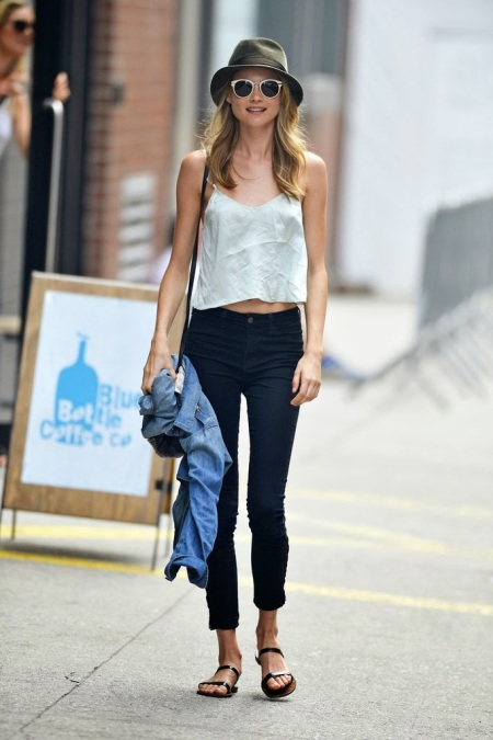 StyleChi-Behati-Prinsloo-Street-Style-Best-Looks-Victoria's-Secret-Angel-White-Cami-Green-Hat=Blue-Cropped-Jeans-Sandals-Denim-Shirt